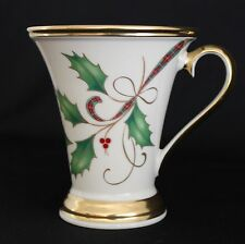 "LENOX CHINA HOLIDAY NOUVEAU GOLD ACCENT MUG Holly  Plaid Ribbon 4.5"" MINT"