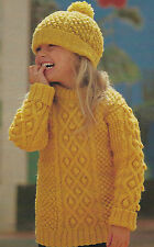 "Aran Knitting Pattern Sweater & Hat with bobbles cables Girls Boys 24-30"" 585"