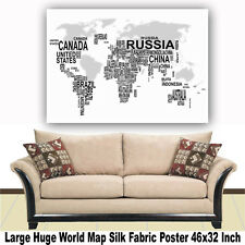 """Poster World Map Large Huge Giant Wall Print Silk Fabric Decor 46""""x32"""" Inch T26"""
