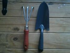 TWO....Garden hand tools...TROWEL & FORK...WOOD/METAL...NEW...