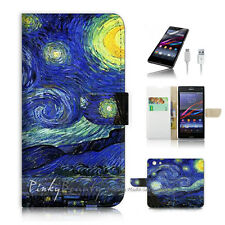 Sony Xperia Z3 Compact Mini Flip Wallet Case Cover! Van Gogh Starry Night P0066