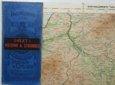 1916 old Bartholomew's New Reduced Survey Half Inch map 1 Wigtown & Stranraer