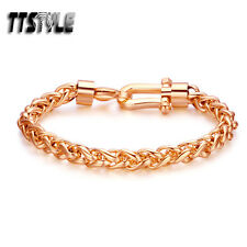 TTstyle 7mm Rose Gold Tone Stainless Steel Link Bracelet Clasp NEW 21cm Length