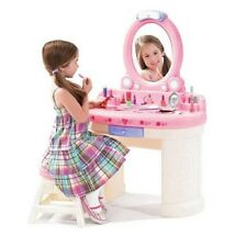Vanity Set For Girls Little Girl Make Up Table Stool Mirror Light Kids Play Toy