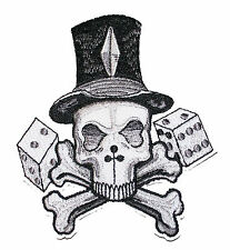 A1122 ricamate patch Rockabilly Emo New School Tattoo giocatori Cranio Skull würf