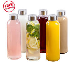 Water Bottles Set Of 6 Glass Containers 16 oz Steel Cap Juice Smoothie  Lid NEW