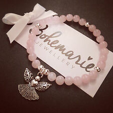 Rose Quartz guardian angel bracelet gemstone protection bijoux jewellery boho