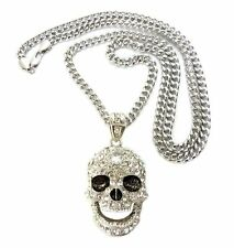 "ICED OUT SKULL PENDANT 6mm/36"" MIAMI CUBAN CHAIN HIP HOP NECKLACE CP15"