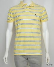 Nwt Ralph Lauren Custom Fit Cotton Mesh Polo Shirt T-Shirt Top Yellow/Stripe S