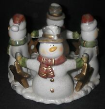 CANDLE HOLDER Ceramic Pillar Snowman/Stars Circle Holding Hands