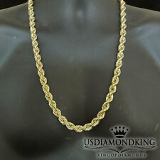 """Real 10K 100% Yellow Gold 10mm Men's Hollow Diamond Cut Rope Chain Necklace 28"""""""