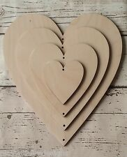 set of four cascading hearts  unpainted laser cut wooden  DIY Valentine gift
