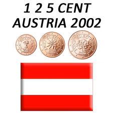 1 + 2 + 5 CENT 2002 AUSTRIA AUTRICHE ÖSTERREICH - FDC UNC