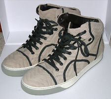 =LUXE= LANVIN Beige Textured Leather High-Top Mens Sneaker Shoes Boots Trainers