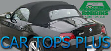 """2003-2008 BMW Z4 Convertible Top & Heated Glass """"Robbins"""" Black Stayfast Cloth"""
