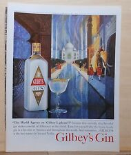 1963 magazine ad for Gilbey's Gin - Taj Mahal as interpreted by Howard Koslow