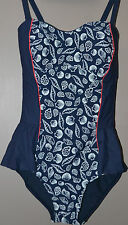 M&S SWIMSUIT TUMMY CONTROL SECRET PANEL PADDED CUPS NAVY MIX - SIZE 10  -  NEW