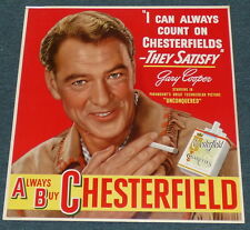CHESTERFIELD CIGARETTES ORIGINAL VINTAGE 1948 CARDBOARD SIGN AD GARY COOPER