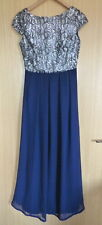 Little Mistress Ladies Dress 8 Prom Long Sequin Silver Blue Maxi BNWT New Cruise