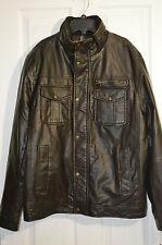 Levi's Men's Trucker Faux Leather Jacket W/ Knit Collar