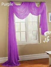 """1 PC SCARF VALANCE TOPPER CASCADING VOILE SHEER FABRIC 35""""-37"""" WIDE X 216"""" LONG"""