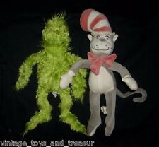 """12"""" PAIR DR SEUSS CAT IN THE HAT & GRINCH STUFFED ANIMAL PLUSH TOY DOLL SOFT"""