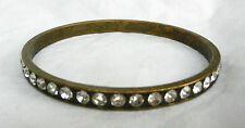 Vintage Indian Brass Bangle Set with Crystals - c 1960s