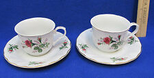 2 Truly Tasteful Teacup & Saucer Sets Pink Rose Buds Flowers White Fine China
