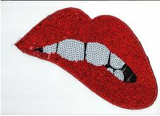 Sequin Patch: Reflective Red Biting on Lip
