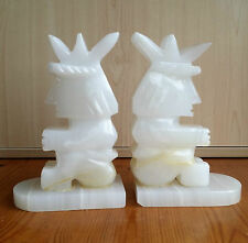 PAIR OF MARBLE ONYX BOOK ENDS KING CHESS PIECE.