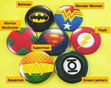 7x button pin badge (44mm) Superhero Superman Batman Flash Wonder Woman +more