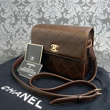 Rise-on Vintage CHANEL Matelasse Brown Leather Shoulder bag Handbag #1714
