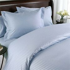 1500 Thread Count 100% Egyptian Cotton Bed Sheet Set OLYMPIC QUEEN Blue Stripe