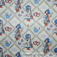 BonEful Fabric FQ Cotton Quilt VTG Blue Heart Holly Hobbie Doll Flower Girl SALE