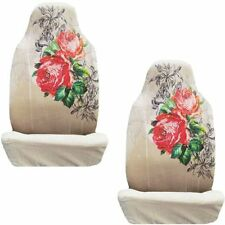 Red Roses w/Black & Silver Crystal Studded Rhinestone Seat Covers Pair