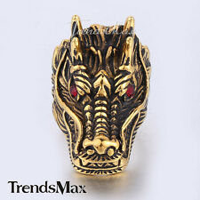 Men Boy Silver/Gold Carved Dragon Head Red Rhinestone 316L Stainless Steel Ring
