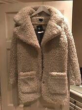 Topshop Teddy Fur Coat 6 (8,10) Oversized Cream Jacket