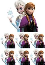 1 LARGE & 6 SMALL ANNA & ELSA FROZEN IRON ON T SHIRT TRANSFERS WHITE FABRICS