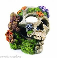 Aquarium Fish Tank Human Skull & Coral Ornament Large Decoration Classic 2690