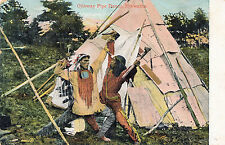 c1905 Ojibway Pipe Dance Native American Indians tinted Postcard