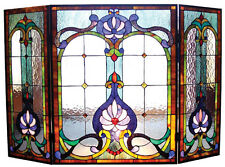SERENITY * BLUES GREENS AMBER VICTORIAN STAINED GLASS FIREPLACE SCREEN