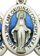 """MRT One Miraculous Mary Medal Silver Plate & Blue Enamel Pendant Gift Italy 3/4"""""""