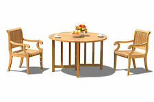 3 PC DINING TEAK SET GARDEN OUTDOOR PATIO POOL FURNITURE GIVA ARMS DINING DECK