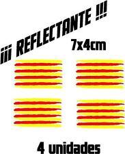 (1091) 4 x Vinilo pegatina bandera Catalana REFLECTANTE coches motos casco