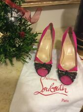 CHRISTIAN LOUBOUTIN Pink Black STRASS DORADO 120 SHOES CRYSTALS Size 40 (9-9.5)
