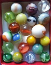 21 Antique Marbles Old Glass Snake Swirl Hybrid Wire Pulls Multicolored