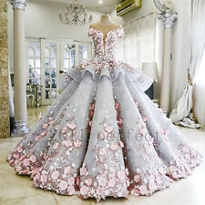New Beautiful Wedding Dresses 3D Appliques Crystal Beads Custom Bridal Ball Gown