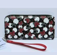Disney Parks Minnie Mouse Black & Red Bow Icon wristlet Wallet Purse New