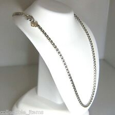 DAVID YURMAN 3.6MM WIDE BOX CHAIN STERLING SILVER & 14K DY TAG 16.5 IN  NECKLACE