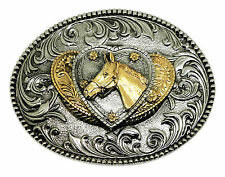 Horse Belt Buckle 3D Heart Pony Western Womens Authentic White Wolf 24ct Gold